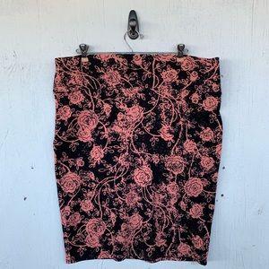 LuLaRoe Pink Black Floral Rose Cassie Skirt